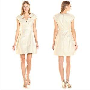 Halston Heritage Cap Sleeve Notch Neckline Dress 6